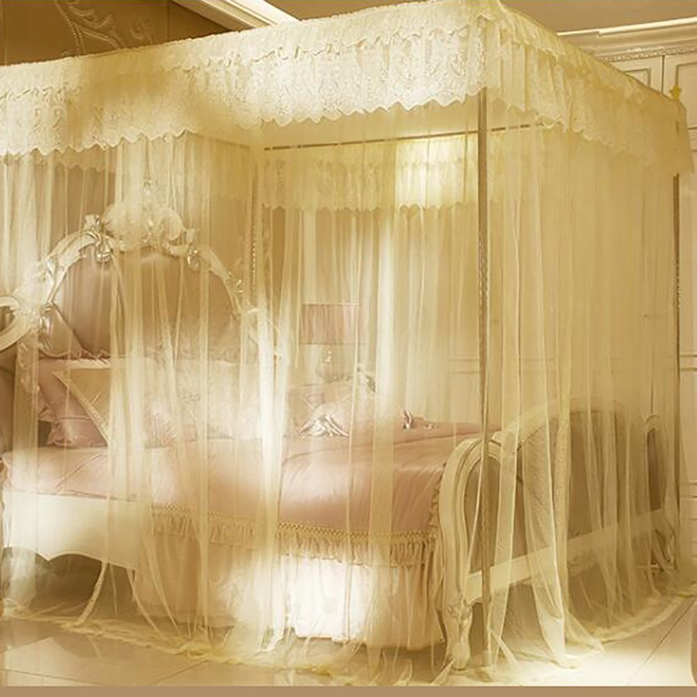 Violet encryption thickened palace mosquito nets, Stainless steel frame Double Residential bed canopy-B Queen2
