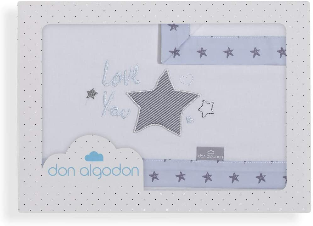 Don Algodón Sábanas Minicuna Love You Blanco Azul: Amazon.es: Bebé