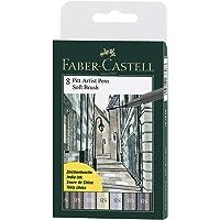 Canetas Artísticas Pitt Ponta Pincel Macio (SB) 8 Cores Tons de Cinza, A&G Faber-Castell