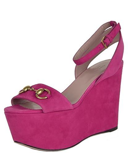 ca722ce02ffe Gucci Shoes Horsebit Fuchsia Suede Leather Wedge Platform Sandals (IT 38    US 8)