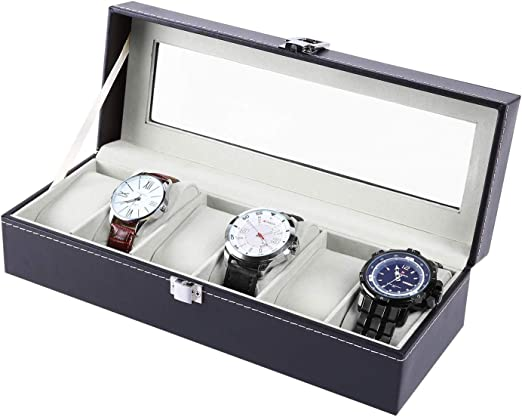 Ohuhu® Expositor/Caja/estuche de piel con reloj/cubierta de la reloj/caja joyero/Joyero Reloj gráfico extraíble de almacenamiento con bandeja de cristal y almacenamiento almohadas, negro, 6-slots gris: Amazon.es: Juguetes y juegos