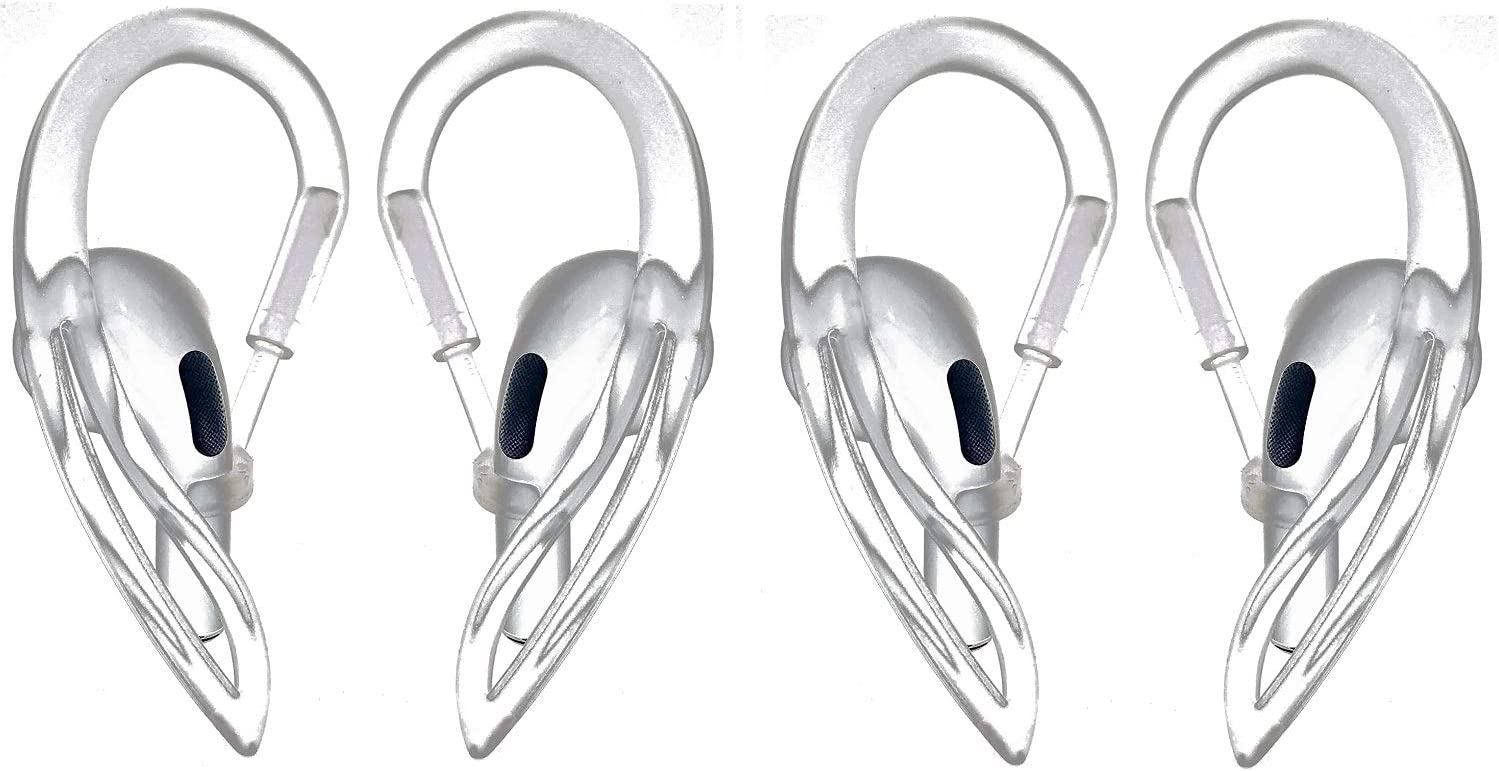 JNSA for AirPods Ear Hooks, Flexible,Rotatable,Retractable, 4 PCS 2 Pairs Clear Ear Hooks Compatible with Apple Airpods 2 & AirPods 1 for Running, Cycling, Jogging, Hiking,Gym,Clear AHC2P