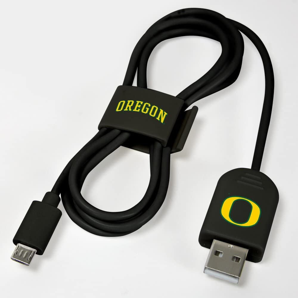 Black Oregon Ducks Micro USB Cable with QuikClip