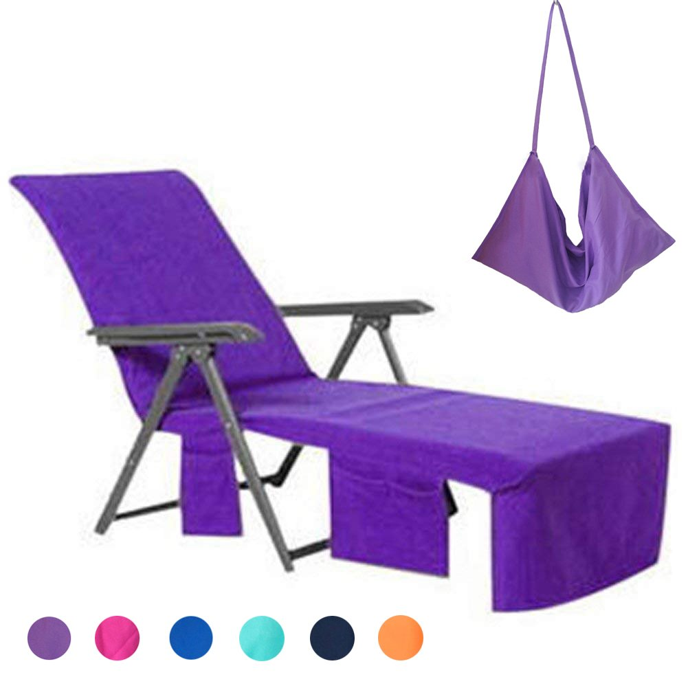 WiseHome Sun Lounger Mate Beach Towel Carry Pockets Bags Holiday Garden Thicker Lounge Purple