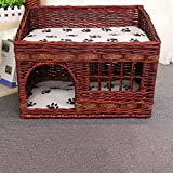 Layboo Handmade Square 2 Level Rattan Wicker Pet(Small Dog/Cat /Rabbit) Cat Delivery Room/ House Tent with Cushion Coffee Color