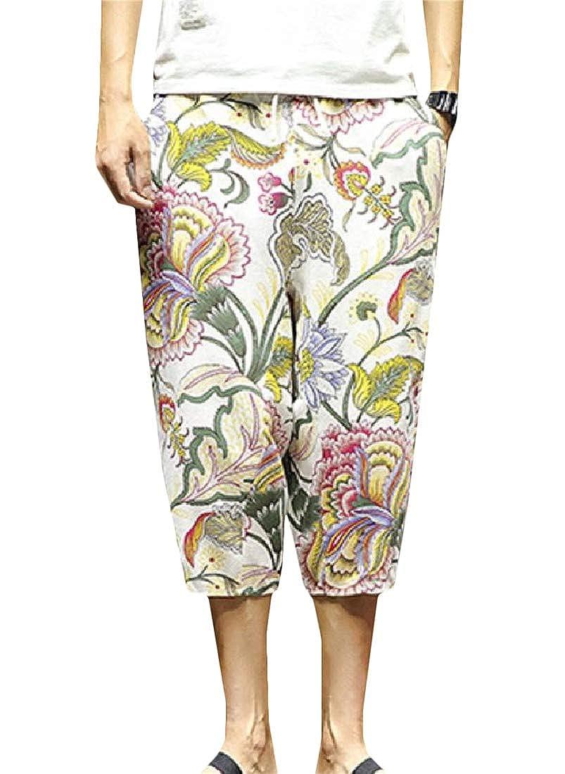 Hajotrawa Mens Baggy Trousers Beach Shorts Harem Capri Printing Pants