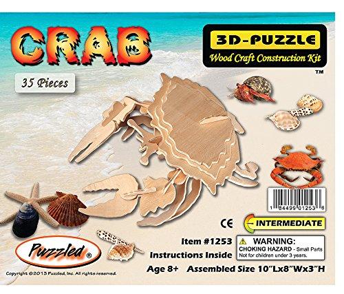 Puzzled Common Shore Crab Wooden 3D Puzzle Construction Kit
