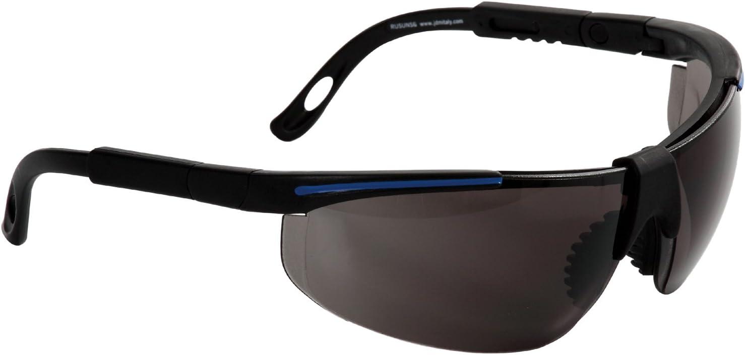 Eagle RUSUNSG Gafa de protección laboral con lentes intercambiables de Policarbonato oscura con patillas ajustable, puente bimaterial y funda de microfibra