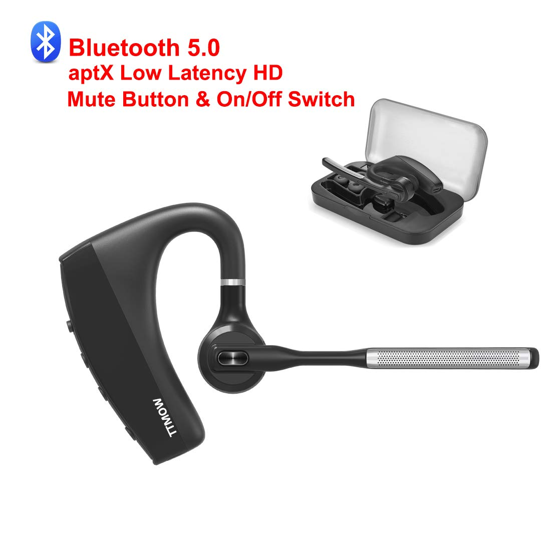 Bluetooth Headset 5.0 Compatible for iPhone Android, TTMOW aptX Low Latency HD Handsfree Wireless Bluetooth Earpiece Single Ear Bluetooth Headsets for Cell Phones and Other Device with Bluetooth by TTMOW