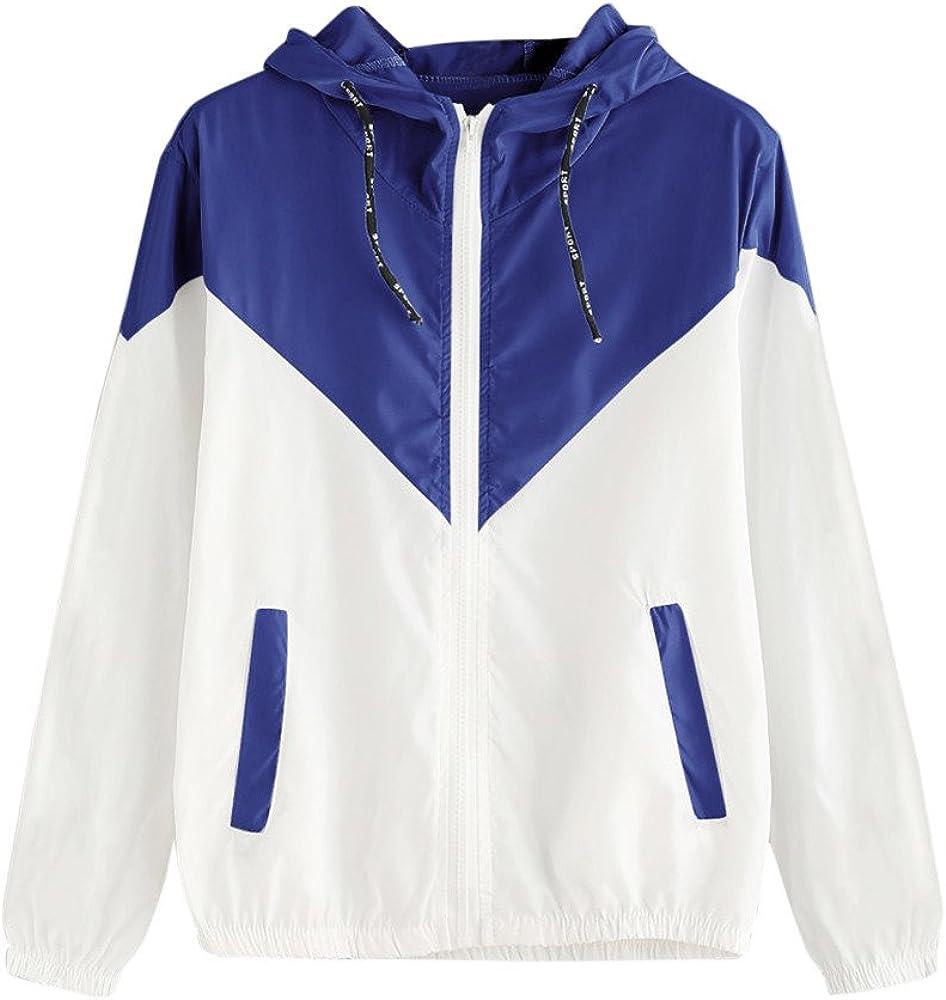 HOOUDO Coats for Women,Sale Auttum Winter Patchwork Thin Lightweight Sport Zip Jacket Pullover Sweatshirt with Hoodie Plus Size
