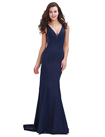 Greenspine Womens V Neck Mermaid Prom Dresses Backless Zipper Bridesmaid Dresses Evening Gowns Size 22 Navy