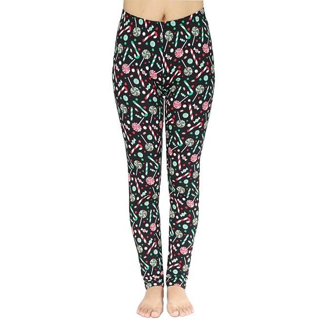 8077850ba045b Sweetaluna Womens Autumn Festive Santa Printed Leggings Christmas Pants O/S  (Candy)