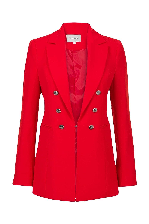 Promiss Damen Einfarbig Balenga Damen Balenga Modischer Blazer In Rot Aus Gewebtem Stoff