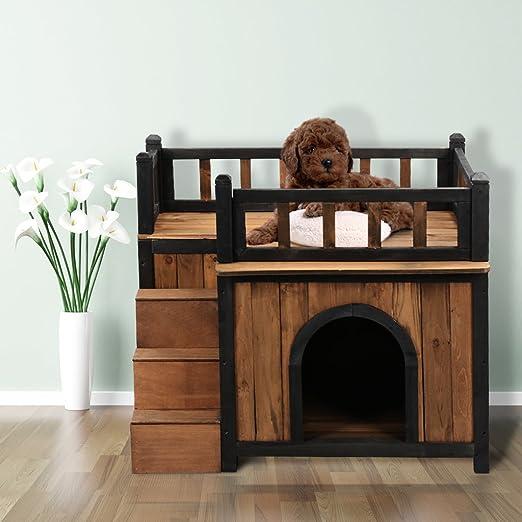 Finether, casita de madera para mascotas con refugio, terraza en la parte superior y escaleras en el lateral, grande, para perros, gatos, conejos, conejillos de india: Amazon.es: Productos para mascotas