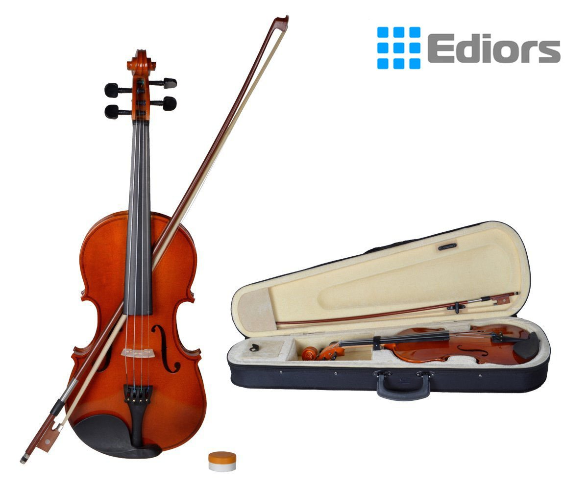 Ediors® 4/4 Full Size Natural Acoustic Violin Fiddle with Case Row Rosin Wood Color