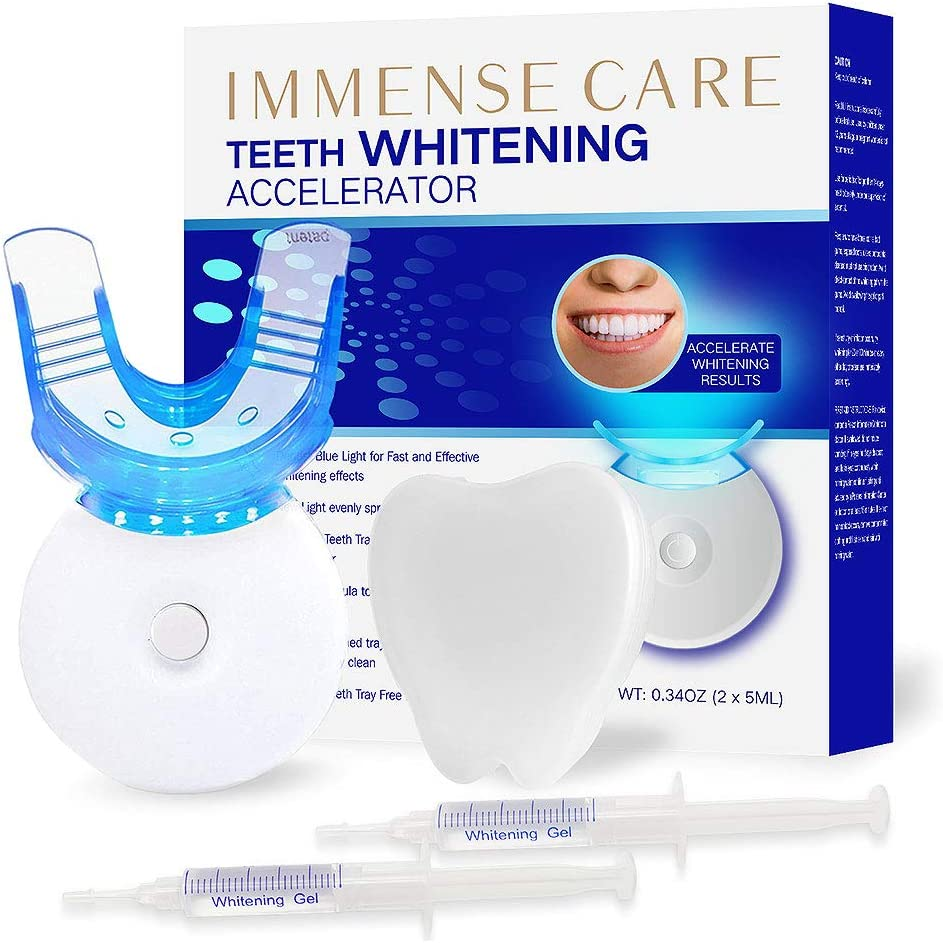 Amazon Com Immense Care Teeth Whitening Kit Dental Teeth Whitening Blue Light Technology Accelerator 35 Carbamide Peroxide Led Light 2 5ml Gel Syringes Premium Patent Mouth Tray Retainer Case Health Personal Care