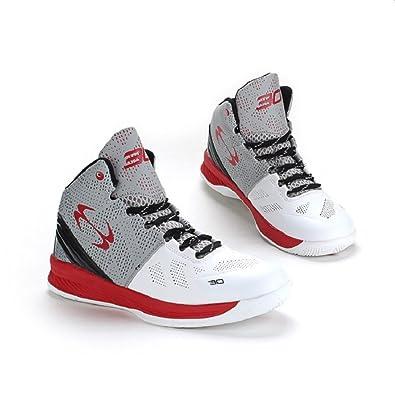 45bb89e964c013 KazmeSports Men s Trending Style PU Basketball Shoes Red 11  Amazon ...