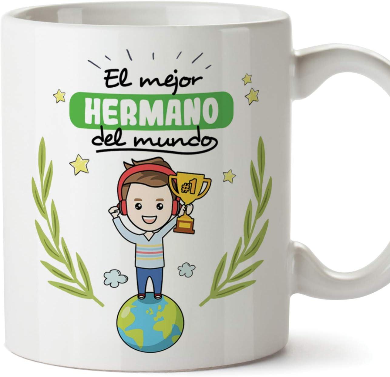MUGFFINS Taza Hermano - El Mejor Hermano del Mundo - Taza Desayuno/Idea Regalo Original/Cumpleaños de Hermanitos. Cerámica 350 mL