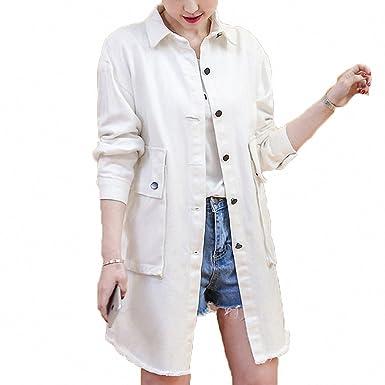 Womens Denim Jacket Solid Big Pockets Single Breasted Coat Loose Long Windbreaker White S