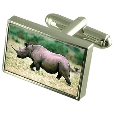 Select Gifts Rinoceronte Africano en Caja Gemelos Plata 925 ...