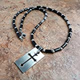 Black Onyx Gemstone & Stainless Steel Cut-out Cross Tag Pendant Necklace 22in for Men, Women, Unisex - Handmade