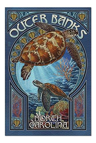 (Outer Banks - North Carolina - Sea Turtle Art Nouveau (20x30 Premium 1000 Piece Jigsaw Puzzle, Made in USA!))