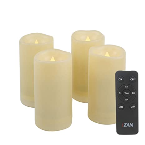 Izan 4 Pack Flameless Battery Operated Led Pillar Candles With Remote Outdoor Waterproof Flickering Decorative Lights For Halloween Christmas Home