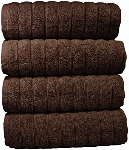 Bath Towel Chocolate (Classic Turkish Towels Combed Cotton Large Hand Towels 20x32 Chocolate Color, Rib Style (Set of 4) Made in Turkey)