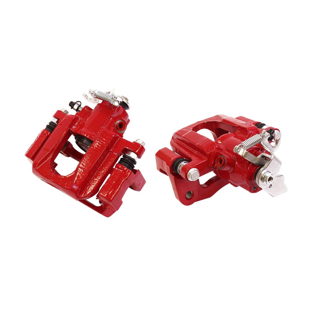 CCK03297 REAR [2] Performance Grade Red Powder Coated Semi-Loaded Caliper Assembly Pair Set