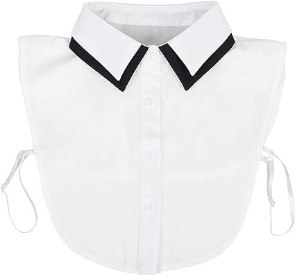 styleBREAKER Cuello de Blusa de Mujer con Cuello de Color de Contraste y Tapeta de Botones, Cuello para Blusas y jerséis 08020008