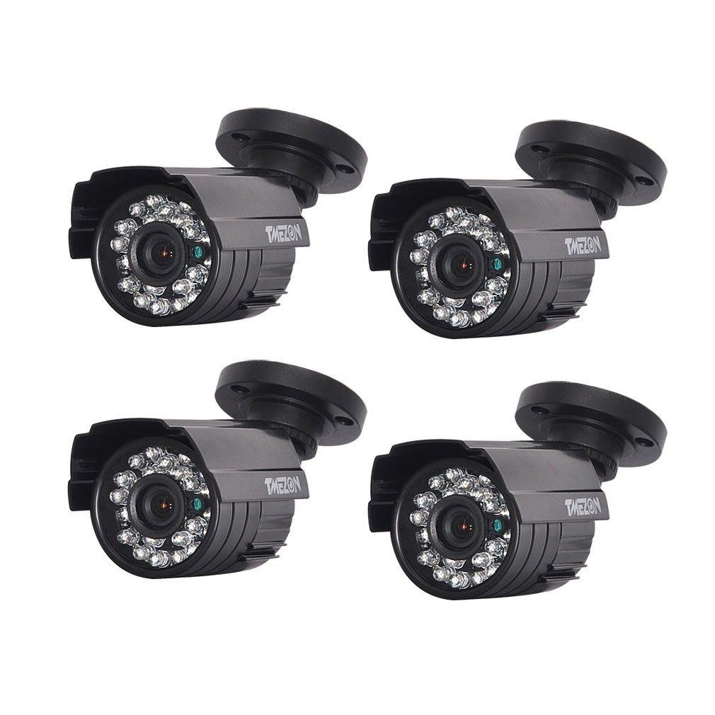 TMEZON AHD監視カメラ4台 130万画素 赤外線LED24個 3.6MMレンズ ブラック B01F8ASWTC AHD防犯カメラ4台 AHD防犯カメラ4台