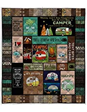 """LIVIN' ILLUSION Camping Quilt Pattern Blanket Quilted Christmas Birthday Customized Little Kids Graduation Gifts All Season Warm Quilt Blanket for Bed Sofa (US Super King 90""""×110""""(230cm×280cm))"""