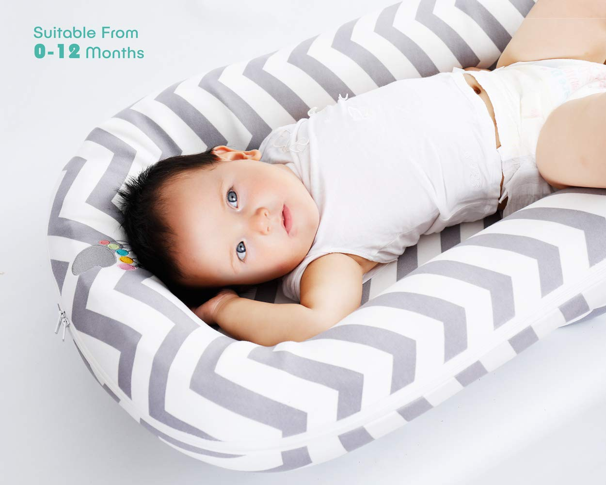 ECORE-Newborn-Baby-Lounger,Co-Sleeping,Infant Cudding Nest,Travel Bed-4 in 1,Breathable,Ultra Soft,Cover Removable for 0-12 Moth Grey Chevron