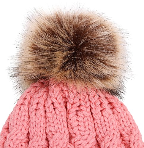 6e2973a85c3 Simplicity Men   Women s Winter Hand Knit Faux Fur Pompoms - Import It All