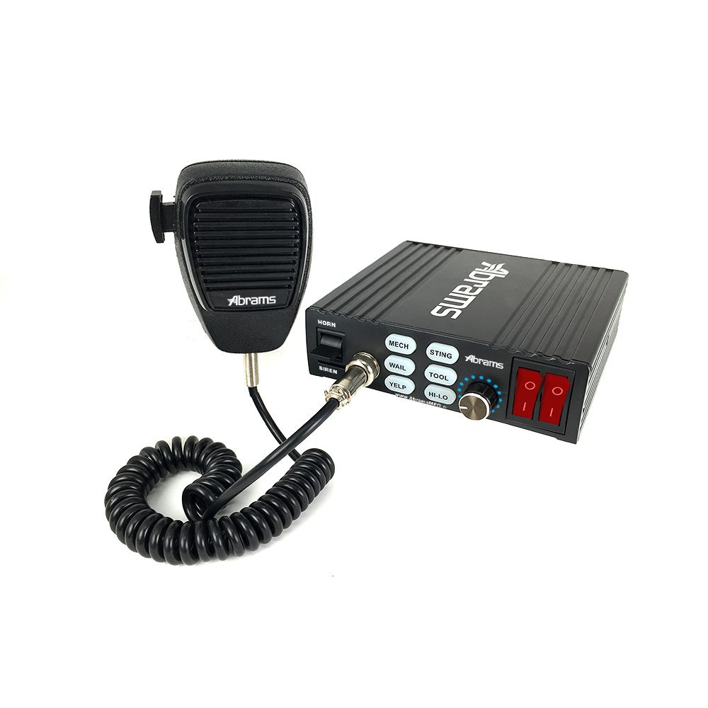 Abrams Ranger Series 100 Watt PA Siren System with Machanical Tones - 6 Tones - Comes with Handheld PA Microphone & 2 Light Control Switches