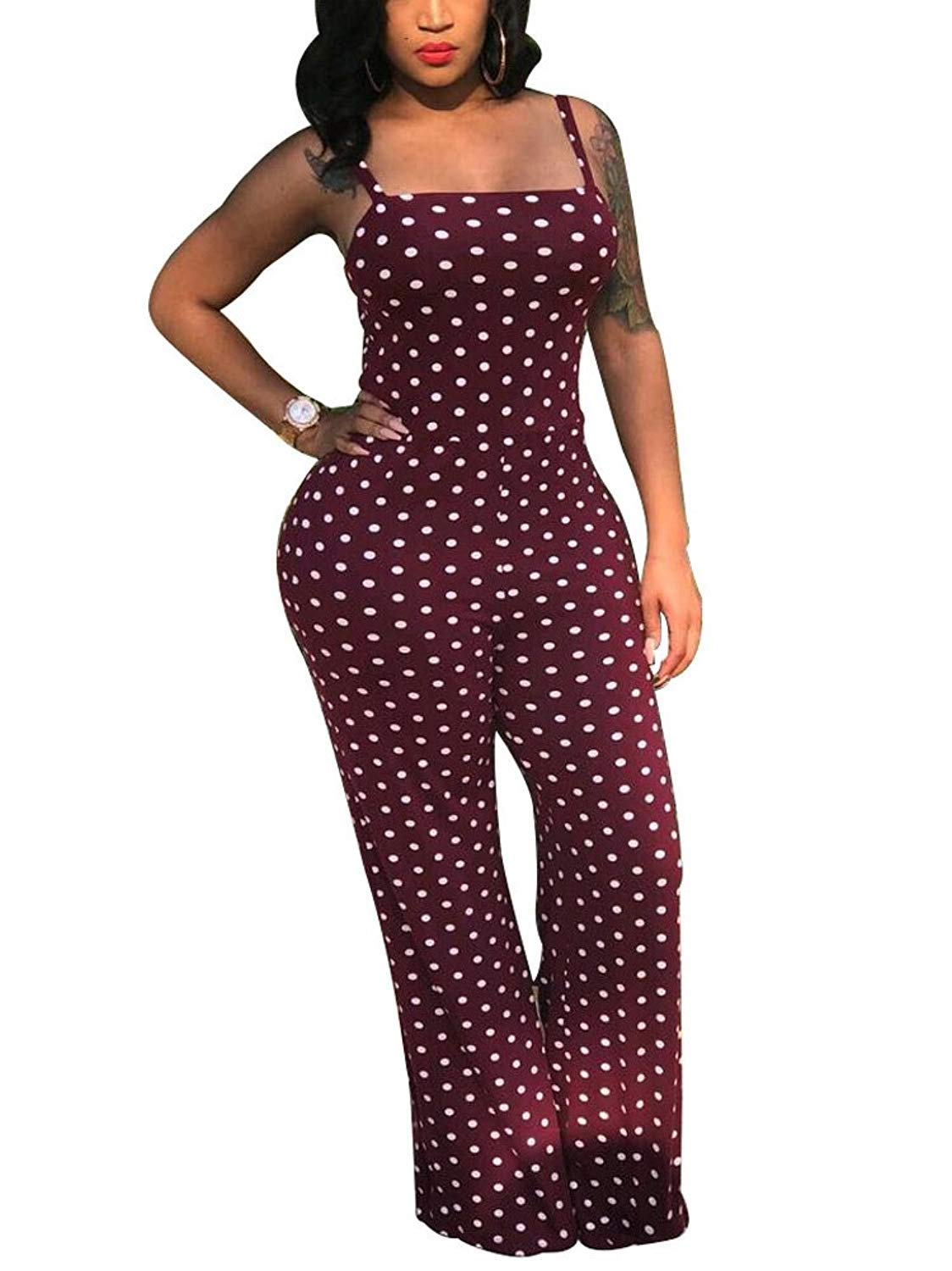 Yeshire Women's Spaghetti Strap Polka Dot Wide Leg Bodycon Jumpsuits Rompers Long Pants XX-Large Maroon