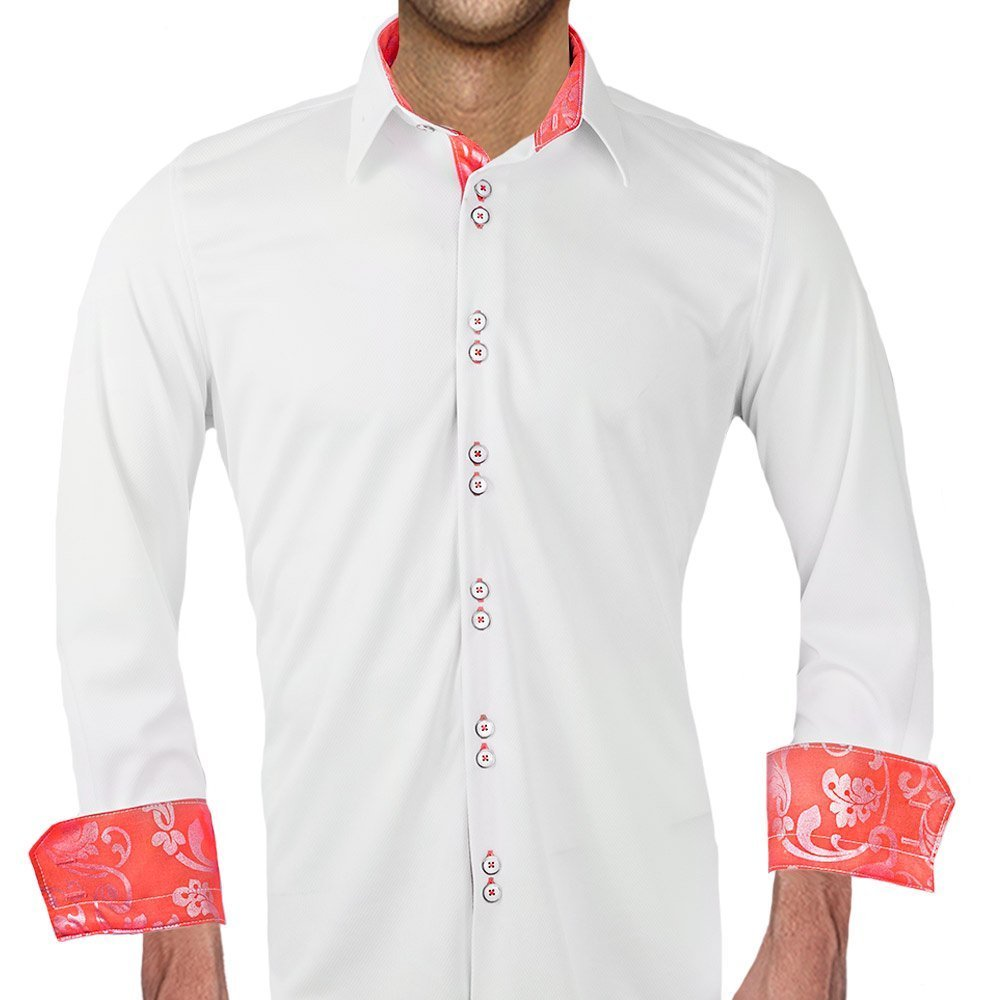 White with Coral Moisture Wicking Dress Shirts - Made in the USA