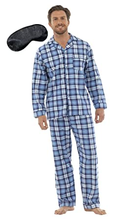 Walter Grange Herren Traditional Flanell Baumwolle Check Pajama mit  Augenmaske (L) Blau