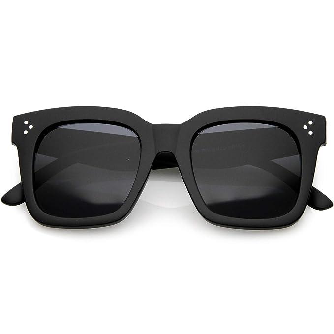 6c86ab36f27 zeroUV - Bold Oversize Tinted Flat Lens Square Frame Horn Rimmed Sunglasses  50mm (Matte Black