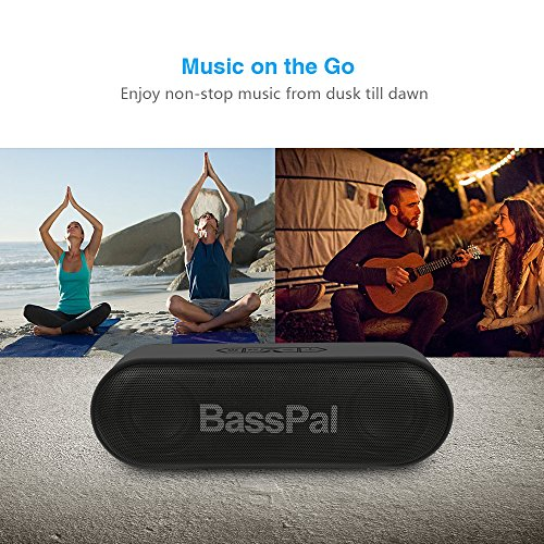 BassPal SoundRo Portable Bluetooth Speaker, 12W Wireless Speaker Lound Stereo Sound, Rich Bass, TF Card Slot, 24-Hour Playtime, 66 ft Bluetooth Range & Built-in Mic Outdoor Home Party Travel Speakers by BassPal (Image #3)