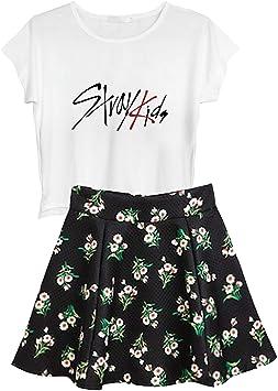Aopostall KPOP BTS Ikon Seventeen Stray Kids Twice Wanna One Parte Superior + Falda Floral Set 2 Piezas Vestido: Amazon.es: Deportes y aire libre