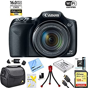 Canon Powershot SX530 HS 16MP Wi-Fi Super-Zoom Digital Camera 50x Optical Zoom Ultimate Bundle Includes Deluxe Camera Bag, 128GB SanDisk Memory Card, Extra Battery, Tripod, Card Reader & More