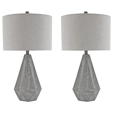 Ashley Furniture Signature Design - Ibby Faux Concrete Table Lamp Set with Drum Shades - Contemporary - Set of 2 - Gray