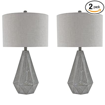 Ashley Furniture Signature Design   Ibby Faux Concrete Table Lamp Set With  Drum Shades   Contemporary