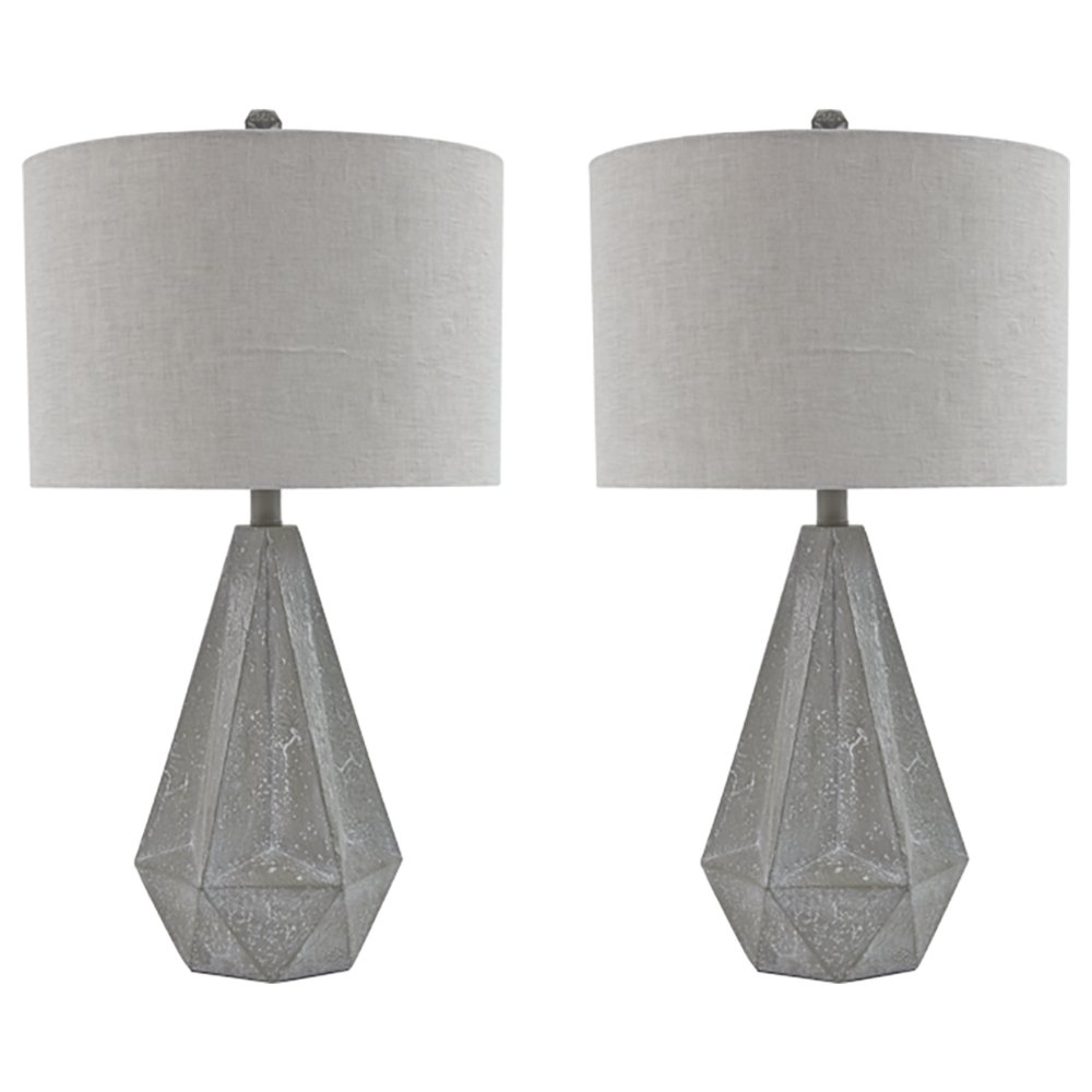 Signature Design by Ashley L235554 Ashley Furniture Signature Design-Ibby Faux Concrete Poly Table Lamp Set with Drum Shades-Contemporary-Set of 2-Gray, 2 Piece