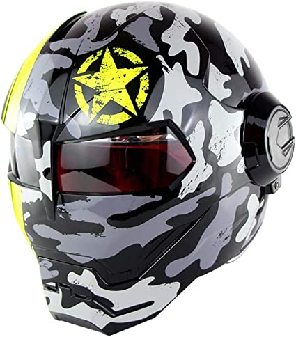 Casque Harley Vintage,2,M Braveking Casque Moto Transformers Flip Up Helmet Casque Iron Man