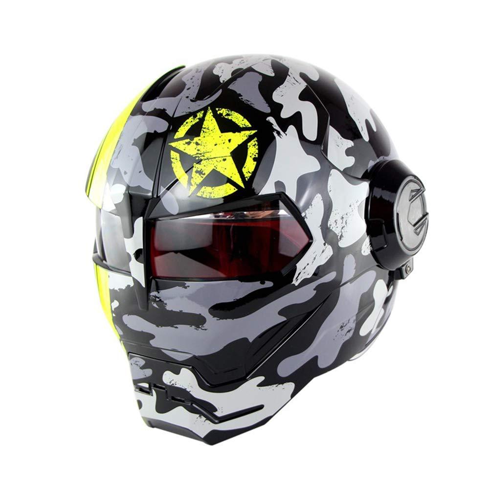 LOSA Casque de Moto//Casque de r/év/élation Harley Transformers r/étro//Casque int/égral Iron Man