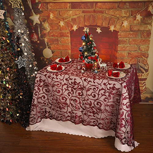 Cocohot Lace Christmas Tablecloth, Square Lace Table Runner Fireplace Scarf Door Christmas Window Decoration (Wine, 60