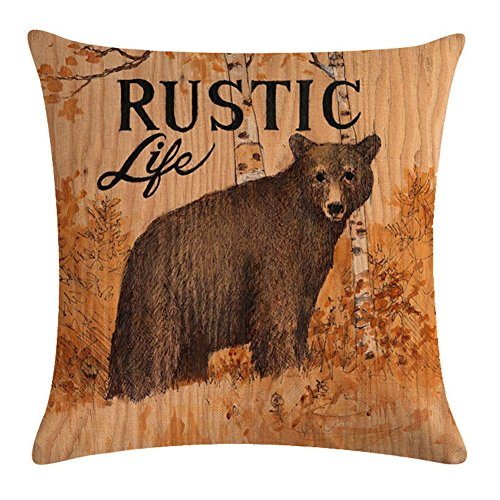 KACOPOL Vintage Background Wildlife Bear Moose Elk Ridge with Quote Words Pillow Covers Cotton Linen Throw Pillow Case Cushion Cover Home Couch Outdoor Decor 18