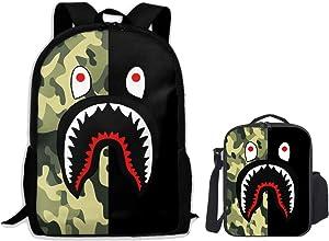 Bape Cool Shark Large Backpack with Lunch Bag Set for Boys Girls - Half Green Half Black Camo